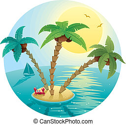 Small Island Landscape - Landscape with small tropical...