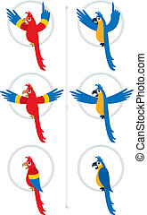 Parrot - Illustration of parrot, shown in 2 different color...