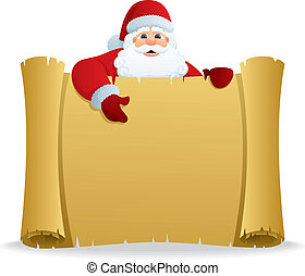 Santa Scroll - Santa, holding scroll with copy space for...