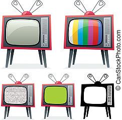 Retro TV - Cartoon illustration of a retro TV in 5 different...