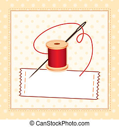 Sewing Label - Sewing label, needle & thread in stitched...