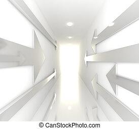 White Empty Room With Arrow
