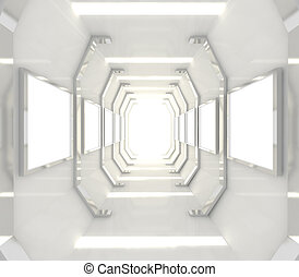 Future White Empty Room - Abstract Interior Gallery with...