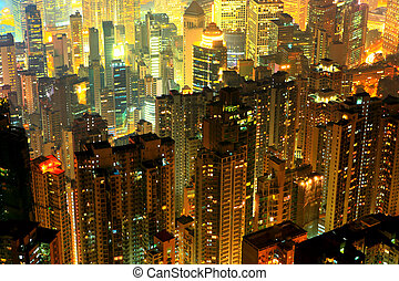 crowded residential building in night