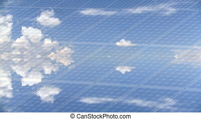 Photovoltaic panel timelapse with clouds