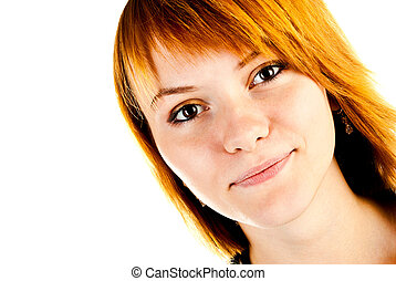 woman face isolated on a white background
