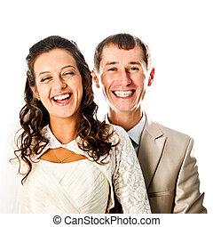 bride and groom isolated on a white background