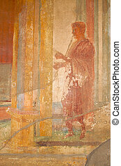 Fresco Ruins of Pompeii - Ancient Fresco from the walls of...