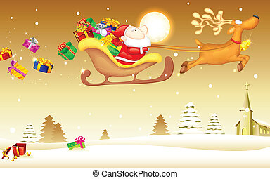 Santa Claus with Christmas gift in Sledge - illustration of...