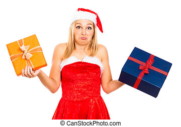 Funny indecisive Santa female with Christmas gifts
