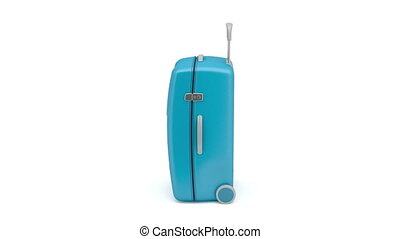 Travel bag rotates on white background