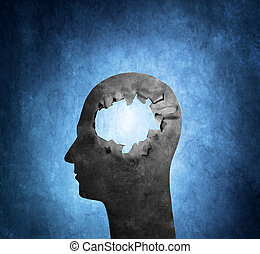 Hole in the Head - Conceptual image of a cardboard head with...