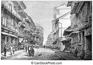 Bombay - 19th century illustration depicting a street in...