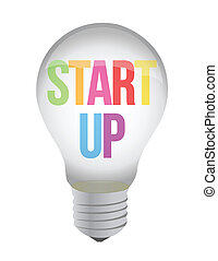 start up lightbulb illustration design over white background