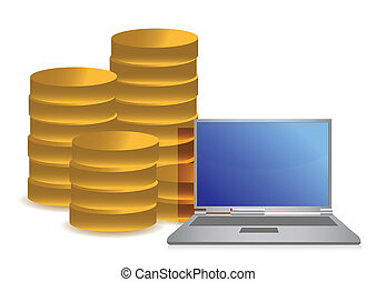 coins and laptop illustration