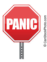 panic stop sign illustration design over white background