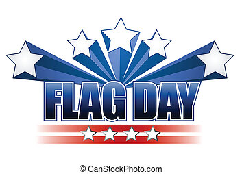 US flag day stars illustration design over white