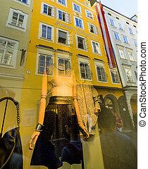 mozart's birthplace in salzburg - austria, salzburg. in the...