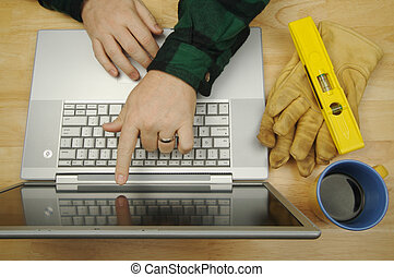 Contractor Points & Reviews Project on Laptop with level,...