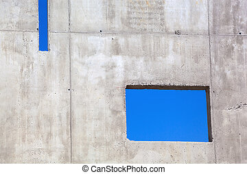 concrete wall - at a construction site, a new concrete wall...