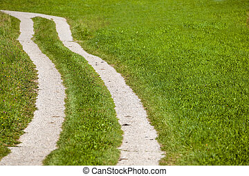 path beside a meadow - a path in a meadow. dirt road to...