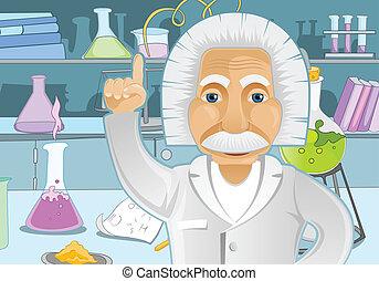 Einstein Idea - Cartoon Character Einstein in Laboratory...