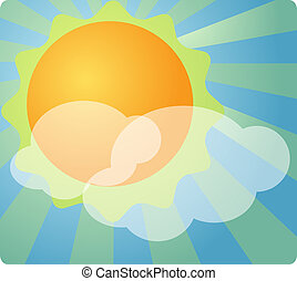 Partly cloudy weather - Weather forecast icon illustration...