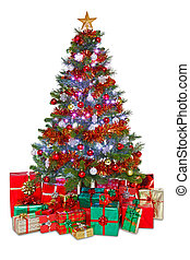 Decorated Christmas tree isolated
