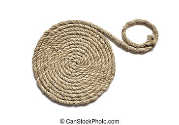 Coil Of Rope - Coil of old hemp rope on white background
