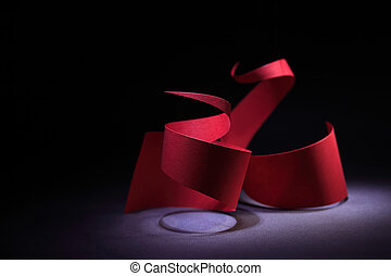 Red Spirals - Abstract composition with two red paper...