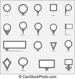 Collection of simple gray map markers, vector eps10...