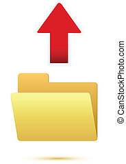 Red arrow with blank folder icon Upload sign