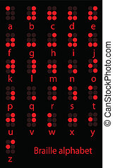 Set of red braille alphabet a-z