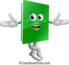 Cartoon book mascot smiling with crossed legs and hands out...