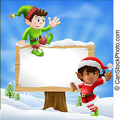 Christmas Characters and Sign - Two Santa's helper type...