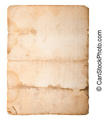 old paper - Dirty old paper isolated on white