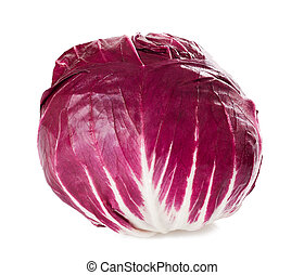 red radicchio - red chicory isolated on white