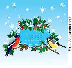 Bullfinch and tit with Christmas tr
