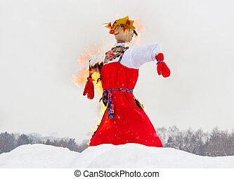 Shrovetide. Farewell to winter, effigy burning. -...