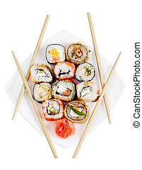Sushi rolls on the plate