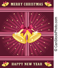 Gold xmas bells, burgundy bows