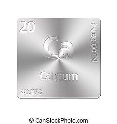 Calcium - Isolated metal button with periodic table, Calcium...