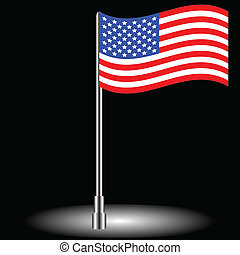 American flag - The American flag on a black background