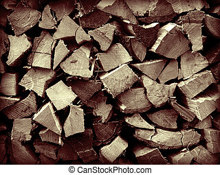 Split Wood Background - A close up on a pile of slip fire...