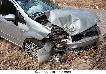 Broken car - Road accident crash damaged car or wreck broken...