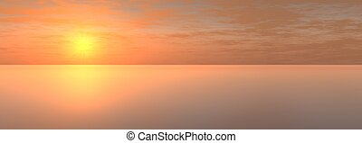 sundown on sea - The Panorama of the sundown on sea. The...