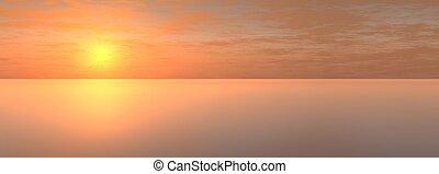 sundown on sea - The Panorama of the sundown on sea. The...