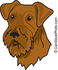 Airedale Terrier - Illustration of a brown airedale terrier