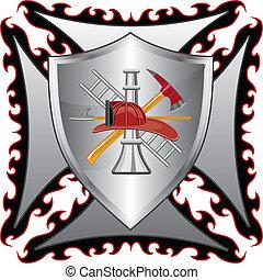 bombeiro, crucifixos, com, escudo