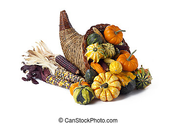 gourds pumpkins and indian corn - Shot of vegetables on a...